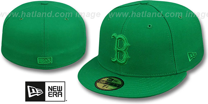 Red Sox 'GREENOUT' Fitted Hat by New Era : pictured without stickers that these products are shipped with
