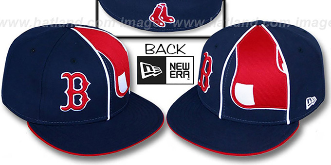 Red Sox 'HBH ZOOM' Navy Fitted Hat by New Era : pictured without stickers that these products are shipped with
