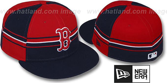 Red Sox 'HORIZONTAL WRAP' Navy-Red Fitted Hat by New Era : pictured without stickers that these products are shipped with