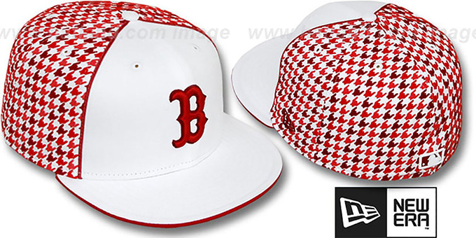 Red Sox 'HOUNDSTOOTH' White-Red Fitted Hat by New Era : pictured without stickers that these products are shipped with