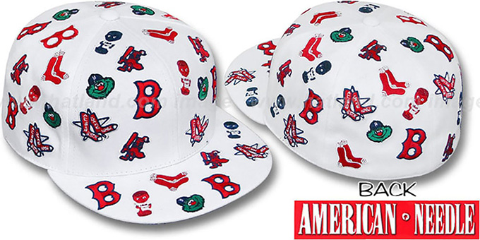 Red Sox 'INTREPID ALL-OVER' White Fitted Hat by American Needle : pictured without stickers that these products are shipped with