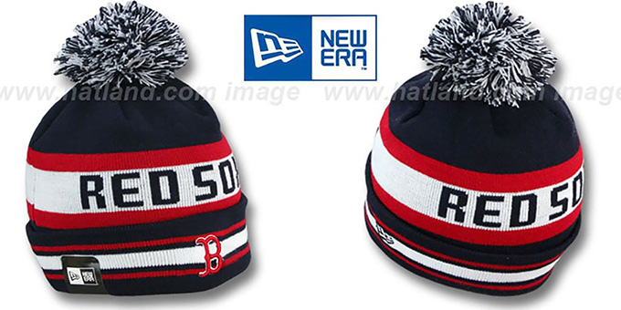 Red Sox 'JAKE' Navy Knit Beanie Hat by New Era : pictured without stickers that these products are shipped with