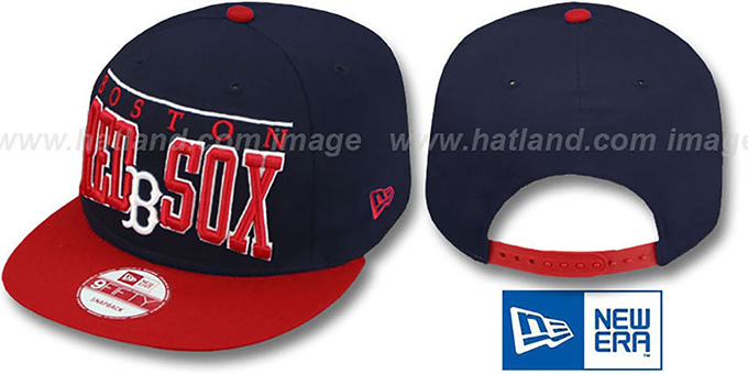 Red Sox 'LE-ARCH SNAPBACK' Navy-Red Hat by New Era : pictured without stickers that these products are shipped with