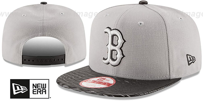 Red Sox 'LEATHER-RIP SNAPBACK' Grey-Black Hat by New Era : pictured without stickers that these products are shipped with