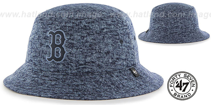 Red Sox 'LEDGEBROOK BUCKET' Navy Hat by Twins 47 Brand : pictured without stickers that these products are shipped with