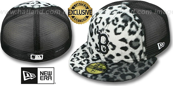 Red Sox LEOPARD 'ANIMAL-FUR MESH-BACK' Fitted Hat by New Era : pictured without stickers that these products are shipped with