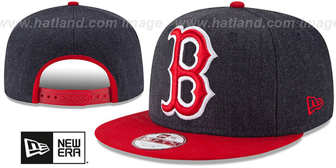 Red Sox 'LOGO GRAND SNAPBACK' Navy-Red Hat by New Era : pictured without stickers that these products are shipped with