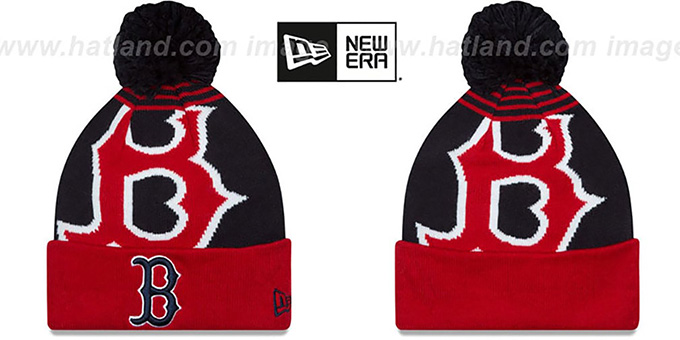 Red Sox 'LOGO WHIZ' Navy-Red Knit Beanie Hat by New Era : pictured without stickers that these products are shipped with