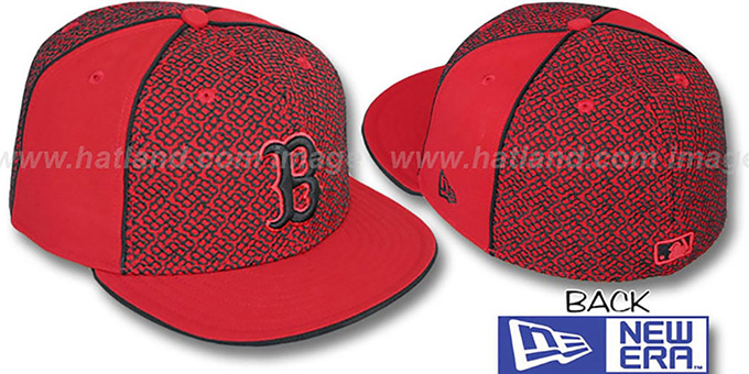 Red Sox 'LOS-LOGOS' Red-Black Fitted Hat by New Era : pictured without stickers that these products are shipped with