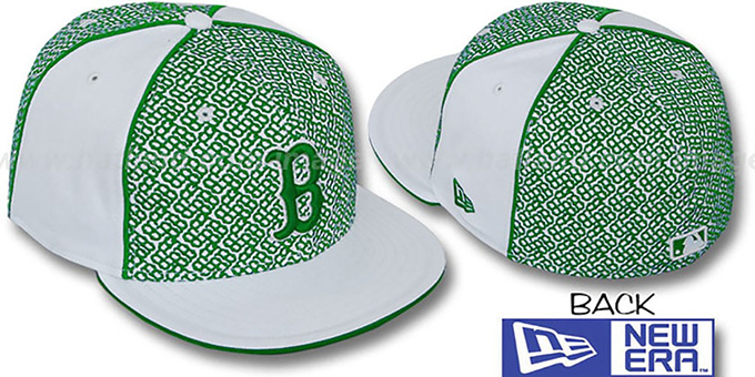Red Sox 'LOS-LOGOS' White-Green Fitted Hat by New Era : pictured without stickers that these products are shipped with