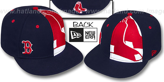 Red Sox 'MASCOT-ZOOM' Navy Fitted Hat by New Era : pictured without stickers that these products are shipped with