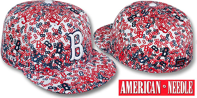 Red Sox 'MATISE' White-Team Color Fitted Hat by American Needle : pictured without stickers that these products are shipped with