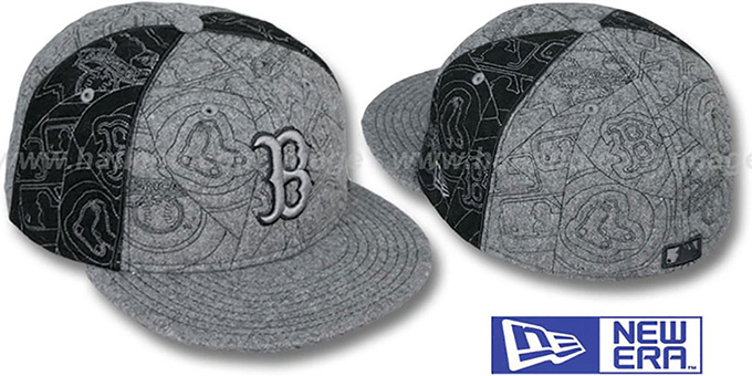 Red Sox 'MELTON PUFFY PINWHEEL' Grey-Black Fitted Hat by New Era : pictured without stickers that these products are shipped with