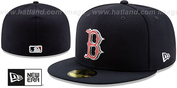 b398e7ed711974 Boston Red Sox METAL-N-THREAD Navy Fitted Hat by New Era