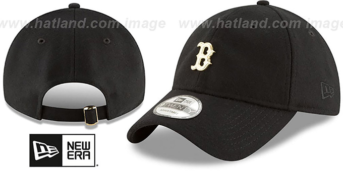 Red Sox 'MINI GOLD METAL-BADGE STRAPBACK' Black Hat by New Era : pictured without stickers that these products are shipped with