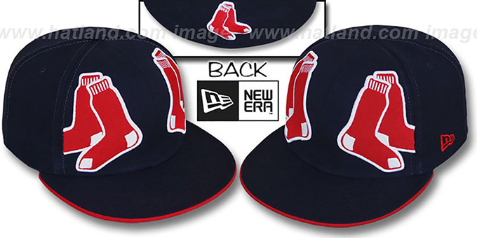 Red Sox 'MIRROR PANELCUT' Navy Fitted Hat by New Era : pictured without stickers that these products are shipped with
