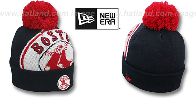 Red Sox 'MLB-BIGGIE' Navy Knit Beanie Hat by New Era : pictured without stickers that these products are shipped with