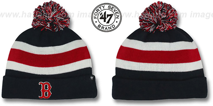 Red Sox 'MLB BREAKAWAY' Navy Knit Beanie Hat by 47 Brand : pictured without stickers that these products are shipped with