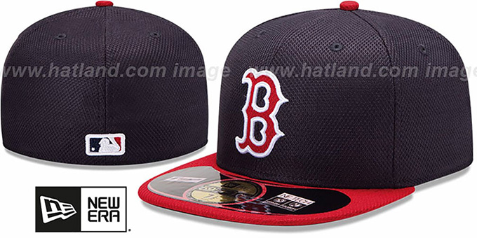 Red Sox 'MLB DIAMOND ERA' 59FIFTY Navy-Red BP Hat by New Era : pictured without stickers that these products are shipped with