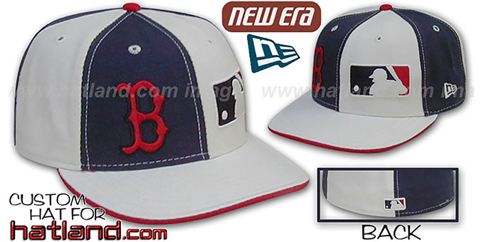 Red Sox MLB 'DOUBLE WHAMMY' Navy-White Fitted Hat : pictured without stickers that these products are shipped with