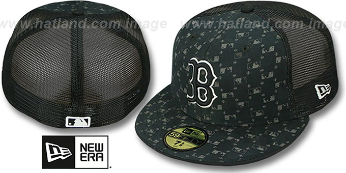 Red Sox 'MLB FLOCKING' Mesh Back Fitted Hat by New Era : pictured without stickers that these products are shipped with