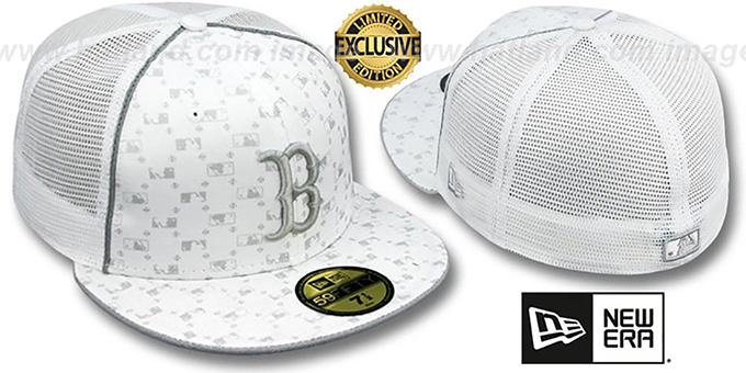 Red Sox 'MLB FLOCKING' MESH-BACK White Fitted Hat by New Era : pictured without stickers that these products are shipped with