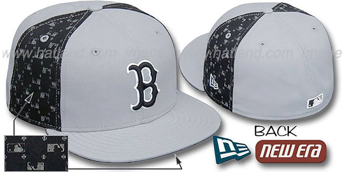 Red Sox MLB FLOCKING 'PINWHEEL' Grey-Black Fitted Hat by New Era : pictured without stickers that these products are shipped with
