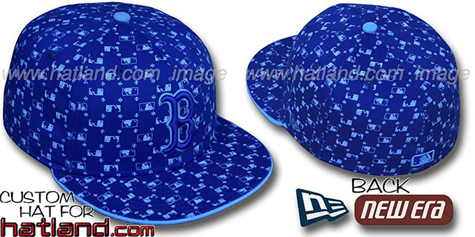 Red Sox 'MLB FLOCKING' Royal Fitted Hat by New Era : pictured without stickers that these products are shipped with