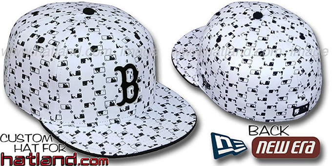 Red Sox 'MLB FLOCKING' White-Black Fitted Hat by New Era : pictured without stickers that these products are shipped with