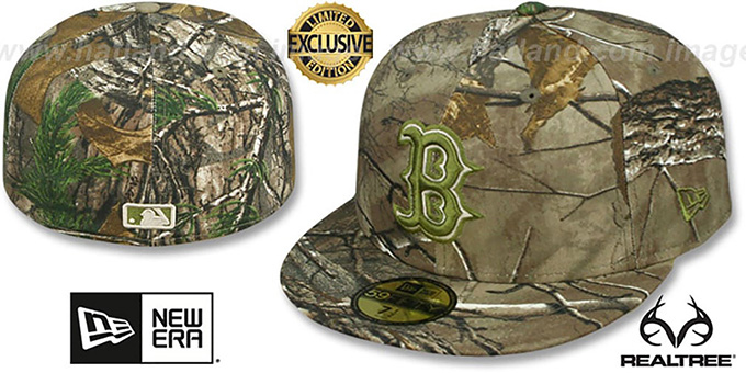 Red Sox 'MLB TEAM-BASIC' Realtree Camo Fitted Hat by New Era : pictured without stickers that these products are shipped with
