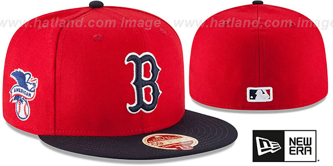 Red Sox 'MLB WOOL-STANDARD' Red-Navy Fitted Hat by New Era : pictured without stickers that these products are shipped with