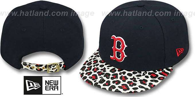 Red Sox 'OSTRICH-LEOPARD STRAPBACK' Hat by New Era : pictured without stickers that these products are shipped with