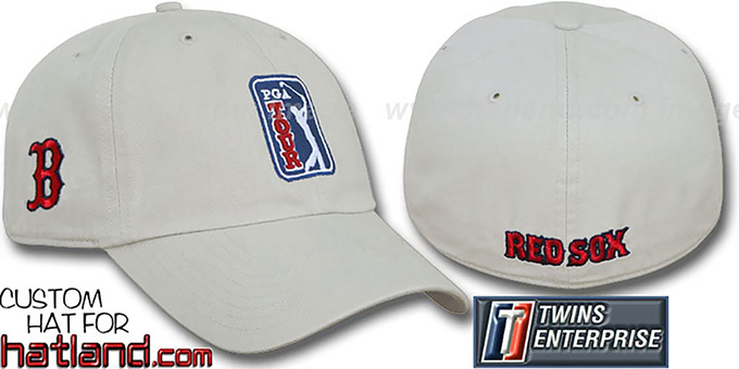 Red Sox 'PGA FRANCHISE' Hat by Twins - stone : pictured without stickers that these products are shipped with
