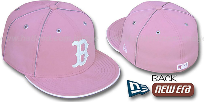 Red Sox 'PINK DaBu' Fitted Hat by New Era : pictured without stickers that these products are shipped with