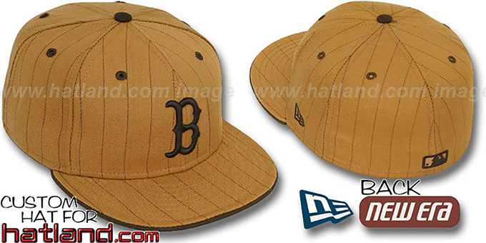 Red Sox 'PINSTRIPE' Wheat-Brown Fitted Hat by New Era : pictured without stickers that these products are shipped with