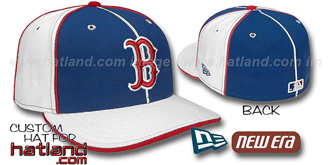 Red Sox 'PINWHEEL-3' Royal-White Fitted Hat by New Era : pictured without stickers that these products are shipped with