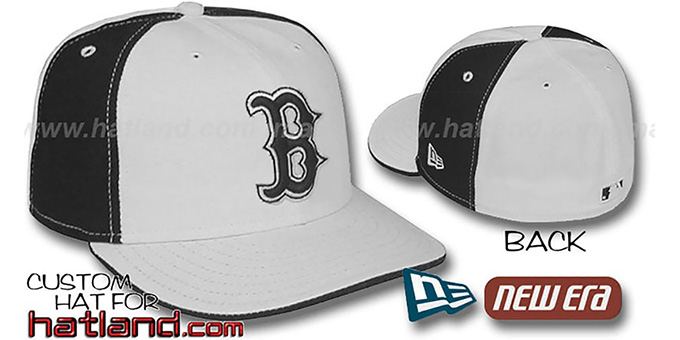 Red Sox 'PINWHEEL' White-Black Fitted Hat by New Era : pictured without stickers that these products are shipped with