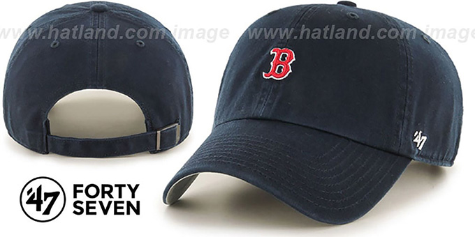Red Sox 'POLO STRAPBACK' Navy Hat by Twins 47 Brand : pictured without stickers that these products are shipped with