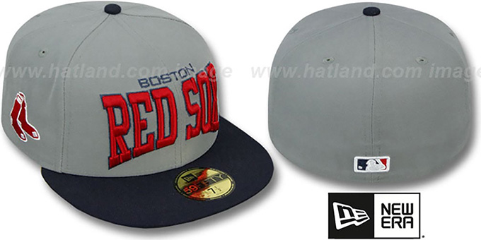 Red Sox 'PRO-ARCH' Grey-Navy Fitted Hat by New Era : pictured without stickers that these products are shipped with