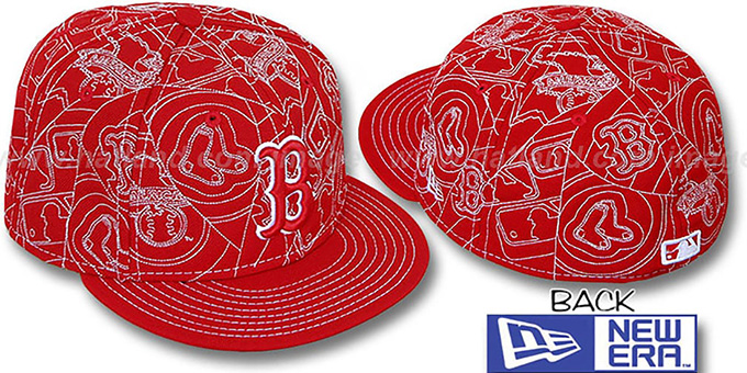 Red Sox 'PUFFY REMIX' Red-White Fitted Hat by New Era : pictured without stickers that these products are shipped with