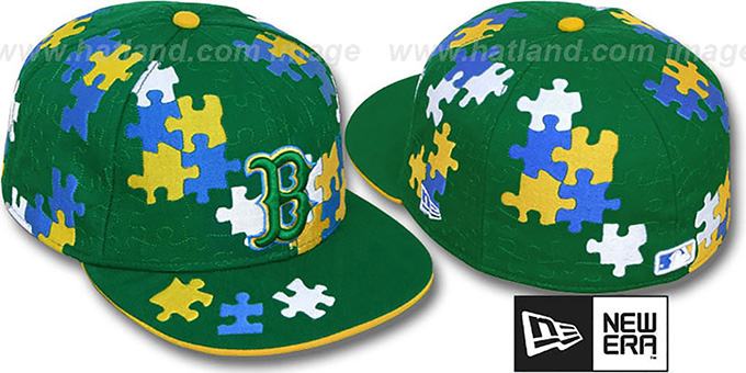 Red Sox 'PUZZLE' Green Fitted Hat by New Era : pictured without stickers that these products are shipped with