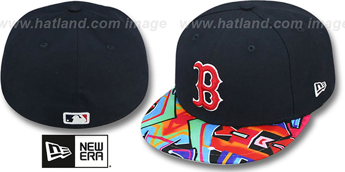 Red Sox 'REAL GRAFFITI VIZA-PRINT' Navy Fitted Hat by New Era : pictured without stickers that these products are shipped with