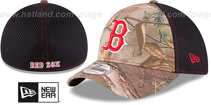 Red Sox 'REALTREE NEO MESH-BACK' Flex Hat by New Era : pictured without stickers that these products are shipped with