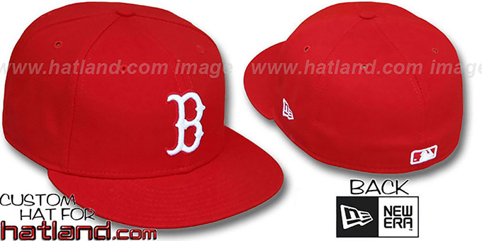 Red Sox 'TEAM-BASIC' Red-White Fitted Hat by New Era : pictured without stickers that these products are shipped with