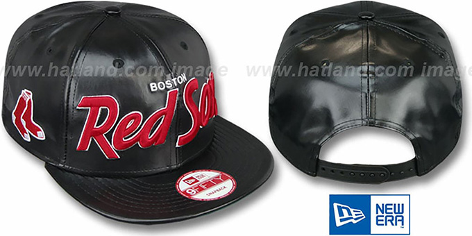 Red Sox 'REDUX SNAPBACK' Black Hat by New Era : pictured without stickers that these products are shipped with
