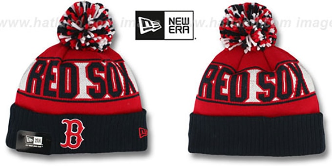 Red Sox 'REP-UR-TEAM' Knit Beanie Hat by New Era : pictured without stickers that these products are shipped with
