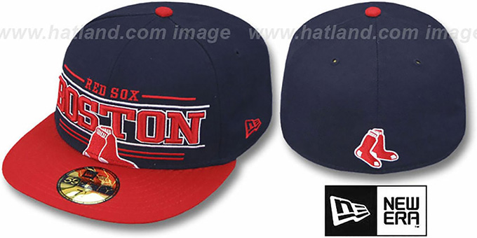 Red Sox 'RETRO-SMOOTH' Navy-Red Fitted Hat by New Era : pictured without stickers that these products are shipped with