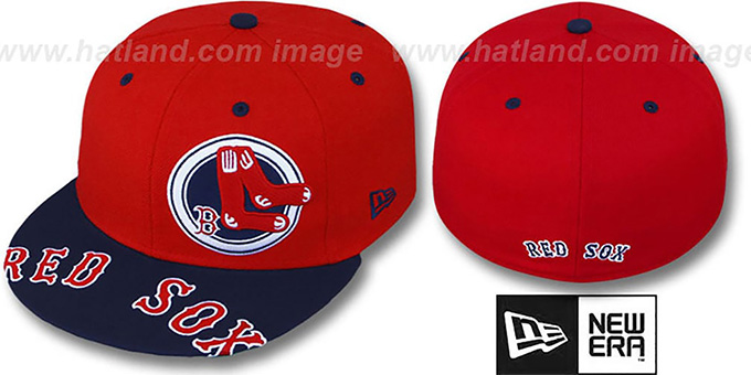 Red Sox 'ROTUND' Red-Navy Fitted Hat by New Era : pictured without stickers that these products are shipped with