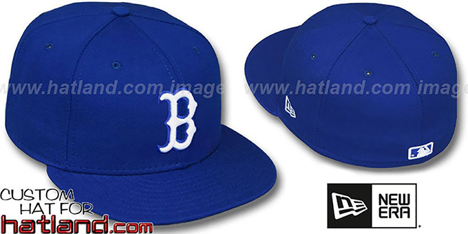 Red Sox 'ROYAL-WHITE' Fitted Hat by New Era : pictured without stickers that these products are shipped with