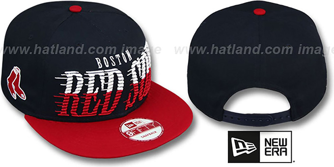 Red Sox 'SAILTIP SNAPBACK' Navy-Red Hat by New Era : pictured without stickers that these products are shipped with